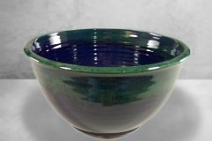 Large Deep Bowl Smooth Design Dark Blue and Green Glaze