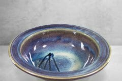 Large Pasta Bowl Smooth Design in Rutile Blue Glaze with Dark Blue Stripes