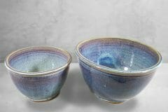 Deep Bowls, Small and Medium Sizes, Rutile Blue Glaze.
