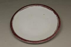 Dinner Plate Smooth Design in White and Red Glaze