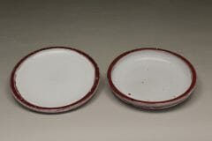 Small Dinner Plate or Salad Plate Smooth Design in White and Red Glaze