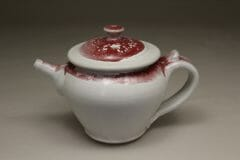 Spouted Teapot with Handle and Lid Smooth Design in White and Red Glaze