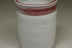 Utensil Holder Smooth Design in White and Red Glaze