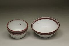 Cereal Bowl (left) and Serving Bowl (right) Smooth Design in White and Red Glaze