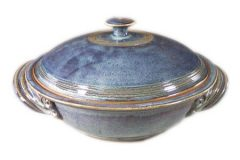 Casserole with Lid, Large, Smooth Design in Rutile Blue Glaze