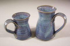 Mug, Small and Large, Smooth Design in Rutile Blue Glaze