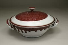 Large Casserole with Lid  Smooth Design in White and Red Glaze