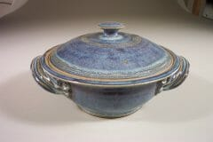 Casserole with Lid Medium Smooth Design in Rutile Blue Glaze