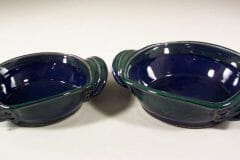 Open Casseroles, Medium or Small, Smooth Design, in Dark Blue and Green Glaze