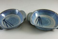 Open Casserole, Small and Medium, Smooth Design in Rutile Blue Glaze with Dark Blue Stripes