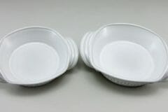 Open Casseroles, Small and Medium, Fluted Design, White Glaze
