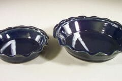Pie Plates Small and Large Sizes in Dark Blue Glaze with Rippled Edges and White Stripes