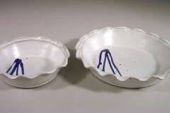 Pie Plates Small and Large Sizes in White Glaze with Rippled Rim and Dark Blue Stripes