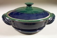 Microwave Vegetable Steamer Smooth Design in Dark Blue and Green Glaze