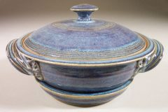 Microwave Vegetable Steamer Smooth Design in Rutile Blue Glaze