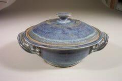 Casserole with Lid Medium Smooth Design in Rutile Blue Glaze