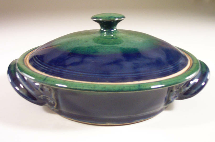 Tortilla Warmer, Smooth Design, Dark Blue and Green Glaze