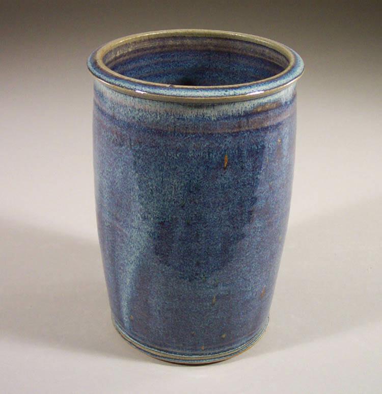 Utensil Holder Smooth  Design in Rutile Blue Glaze