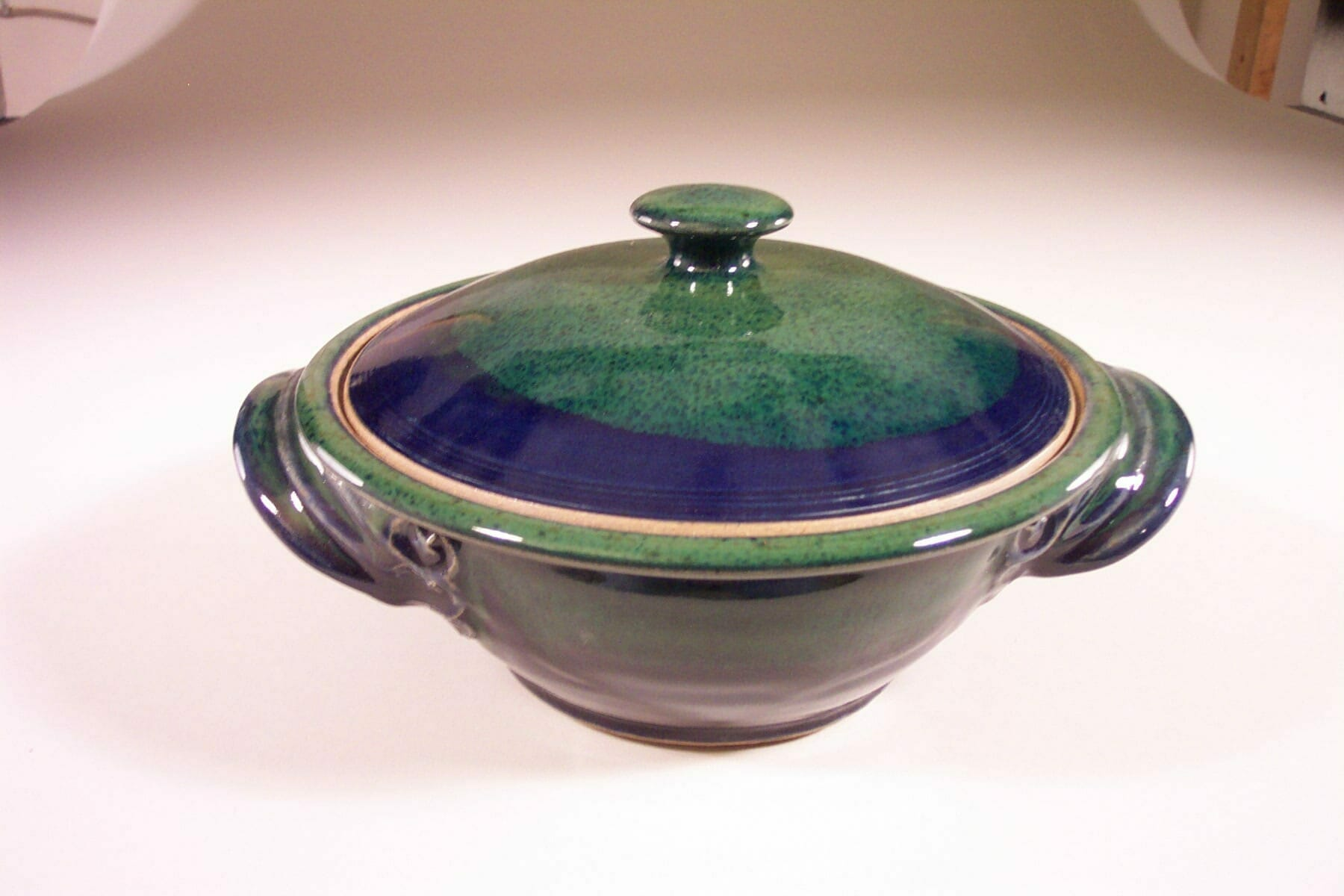 Medium Casserole with Lid Smooth Design in Dark Blue and Green  Glaze