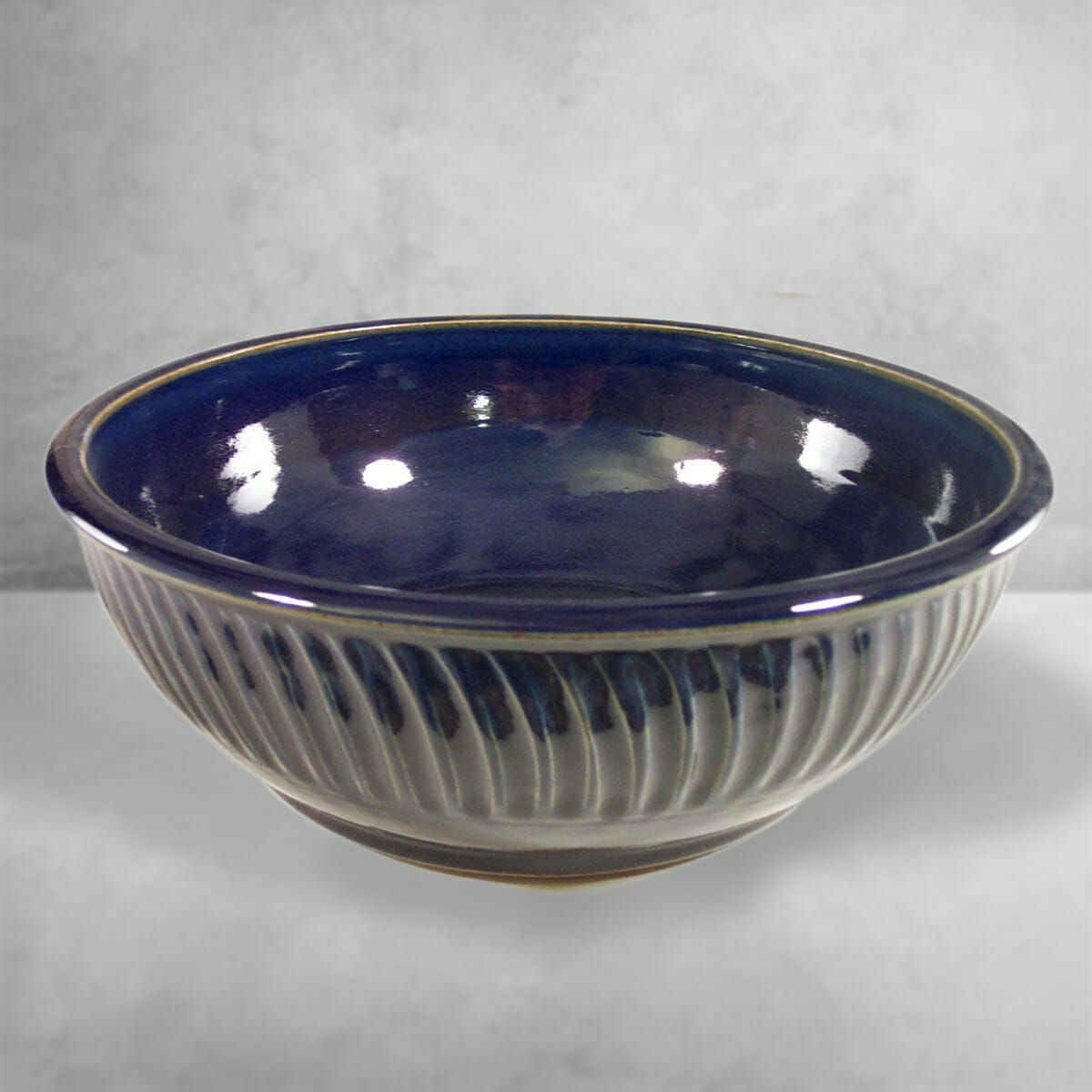 Large Bowl Fluted Design in Dark Blue Glaze