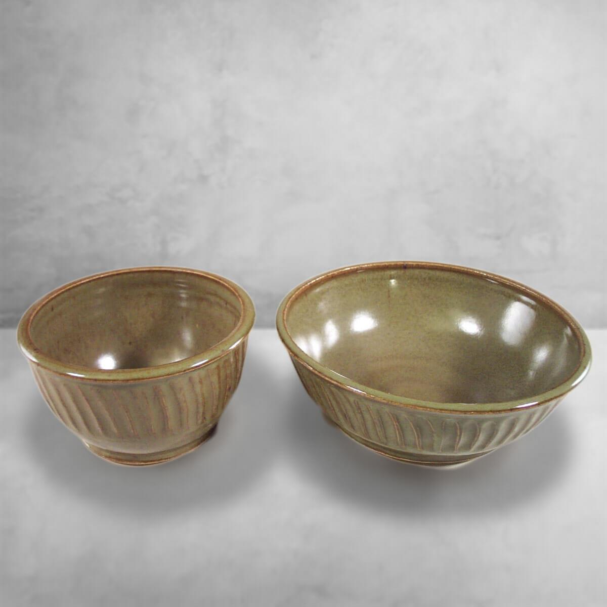 Cereal Bowl or Serving Bowl in Fluted Design Green Glaze