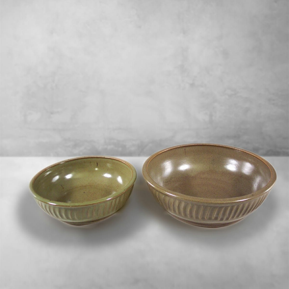 Low Bowls, small or regular sizes, Fluted Design in Green Glaze