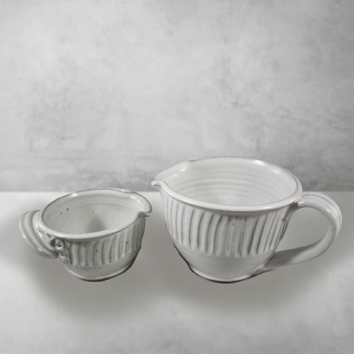 Spouted Bowls with Handles Fluted Design Small and Large Sizes, in White Glaze