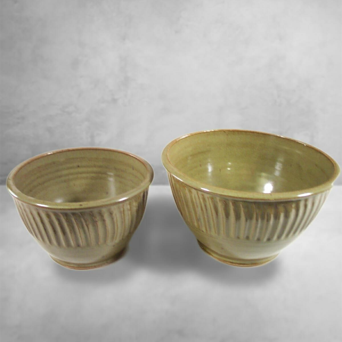 Small Deep Bowl or Medium Deep Bowl Fluted Design in Green Glaze