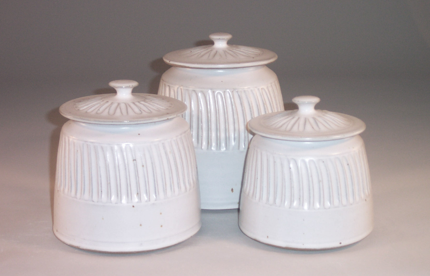 Cannister 3-pc Set with Lids, Fluted Design in White Glaze