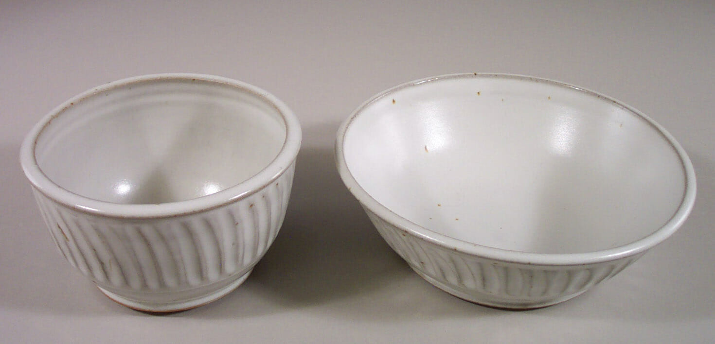 Cereal Bowl or Serving Bowl in Fluted Design White Glaze