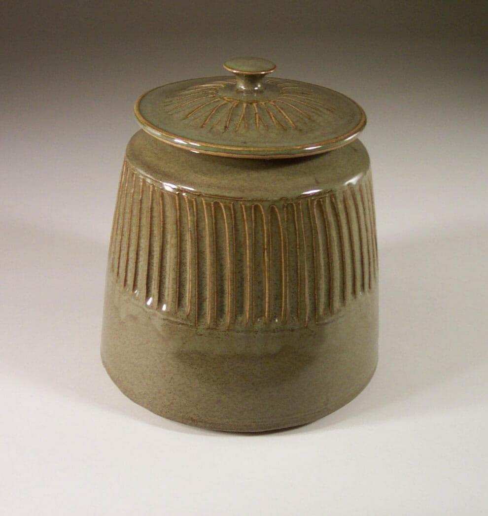 Cookie Jar Fluted Design n Green Glaze