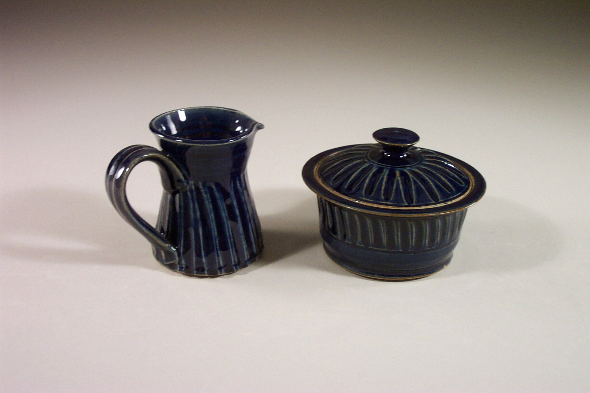 Creamer and Sugar Bowl with Lid Design 2 in Dark Blue Glaze