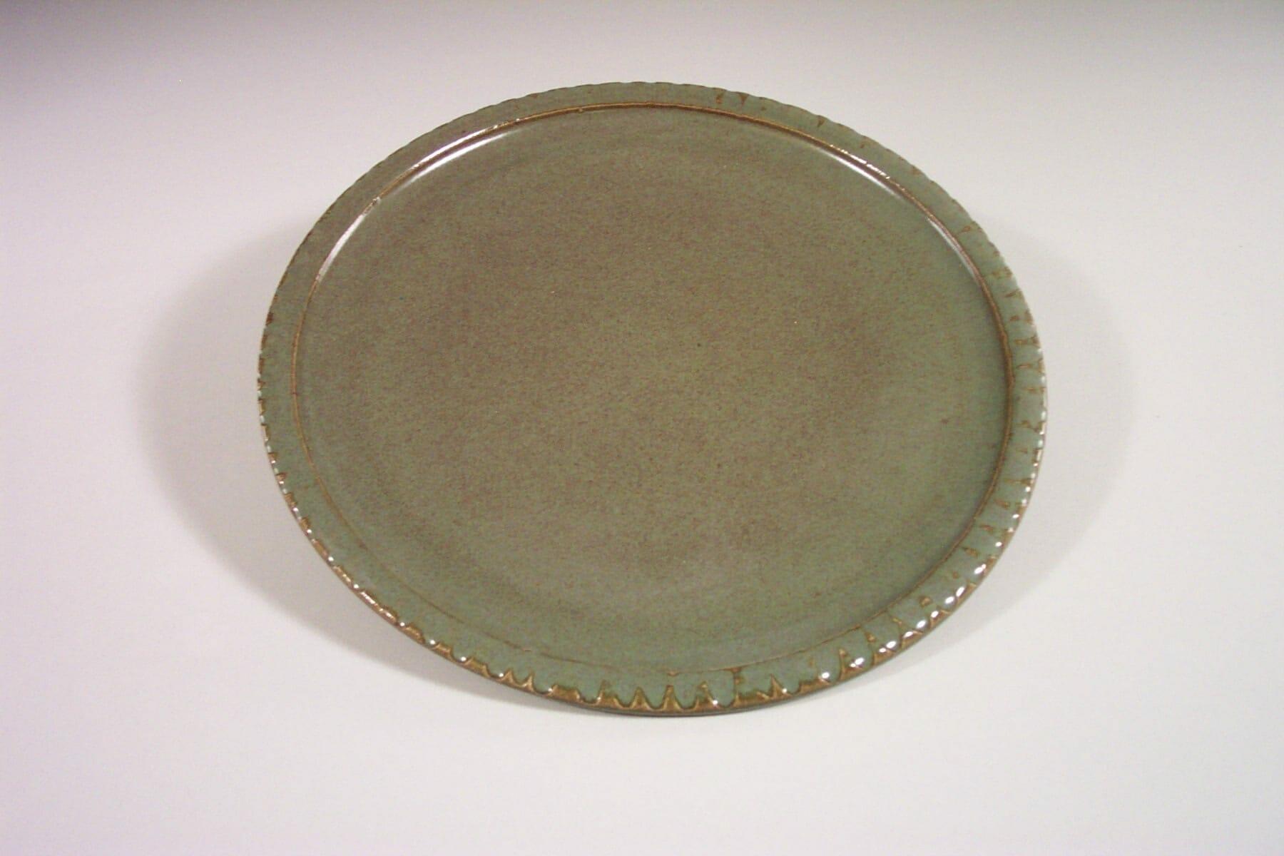 Dinner Plate Fluted Design in  Green Glaze