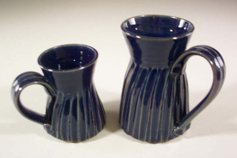 Mug, Small and Large, Fluted Design in Dark Blue Glaze