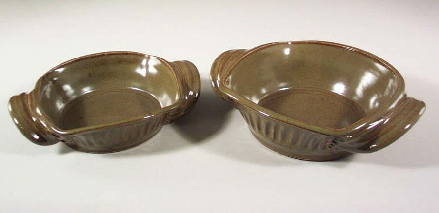 Open Casserole, Small or Medium, Fluted Design, in Green Glaze