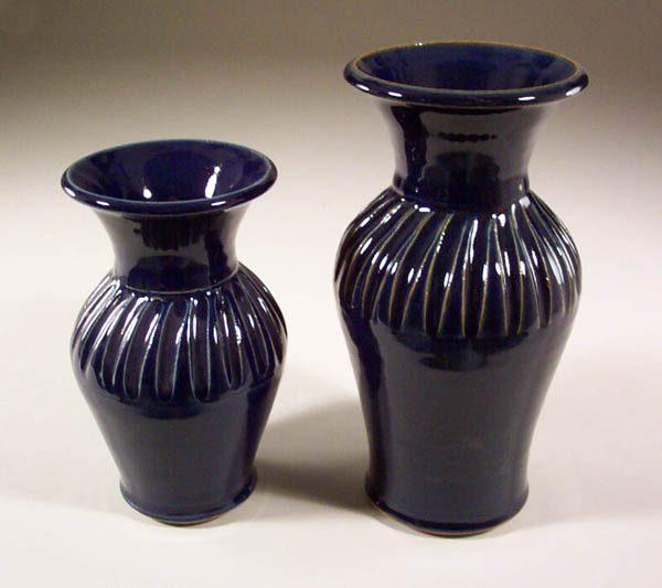 Vases Fluted Design, Small or Medium Sizes in Dark Blue Glaze