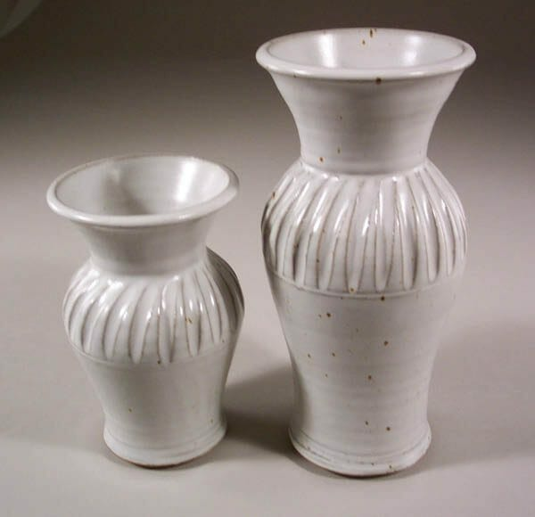 Vases, Small and Medium Fluted Design  in White Glaze