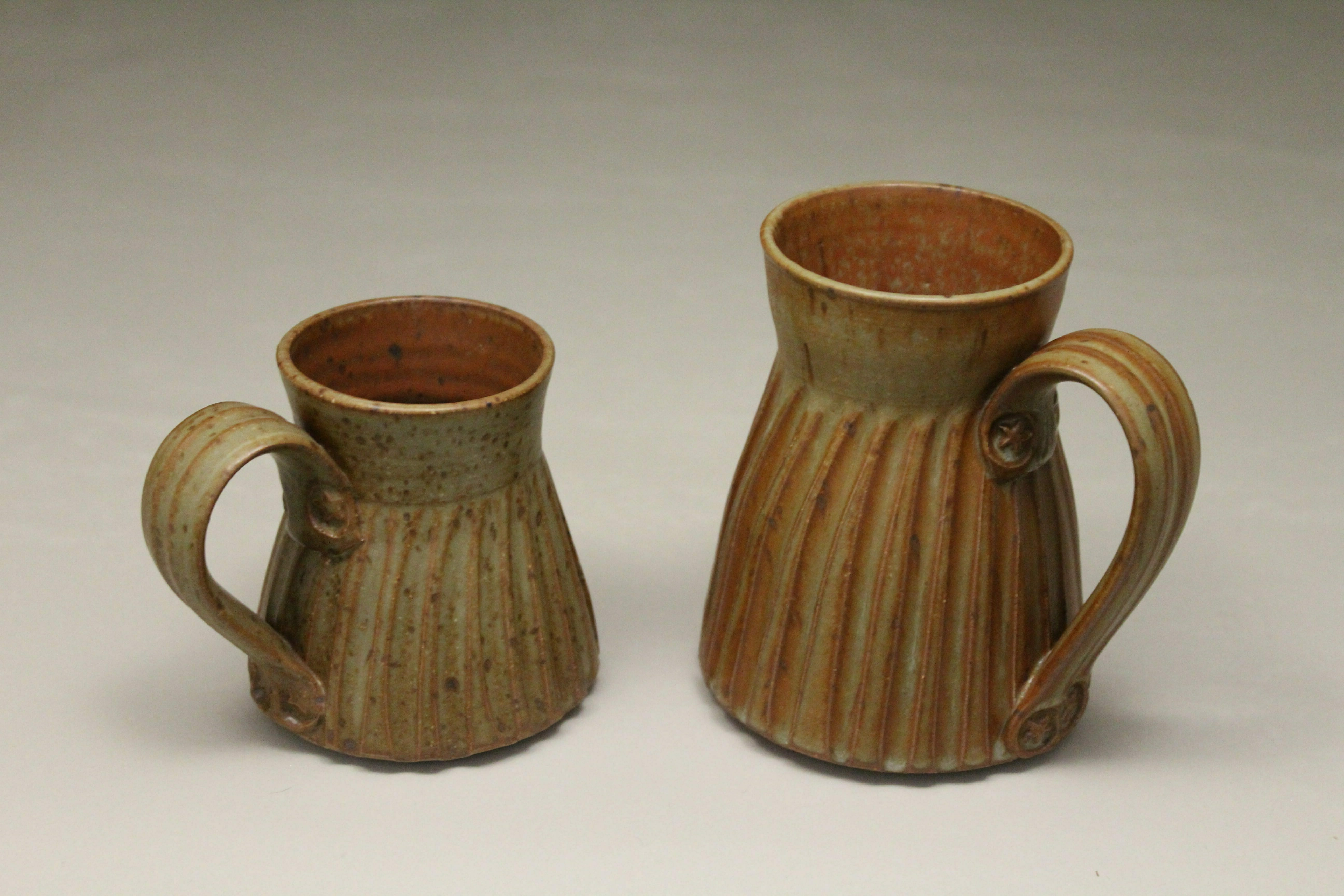 Mug, Small and Large Sizes, Fluted Design in Spodumene Glaze