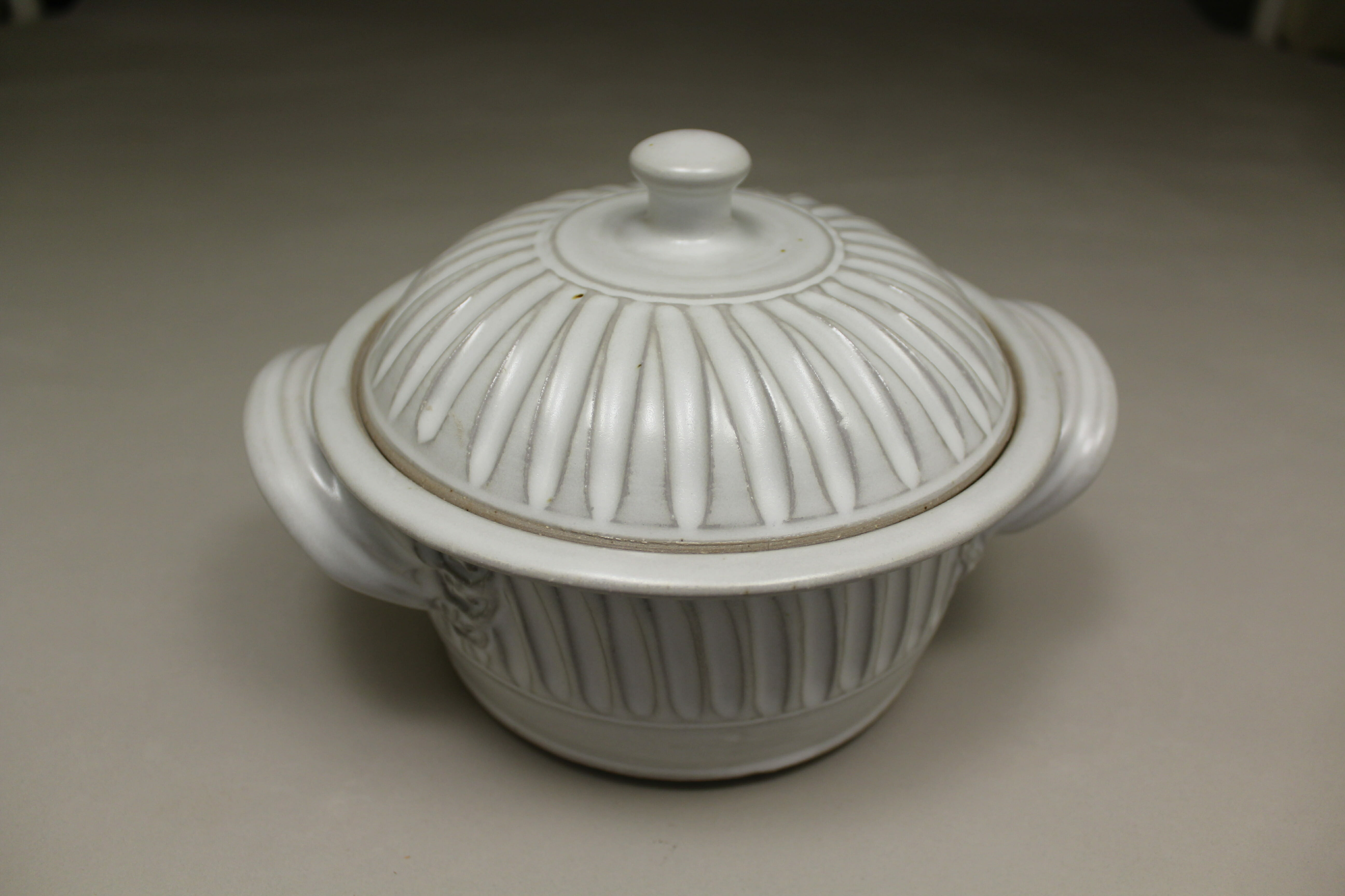 Small Casserole 3 Fluted Design in White Glaze