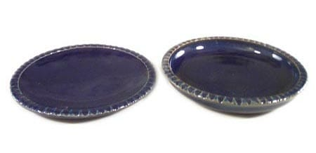 Small Dinner Plate or Salad Plate Fluted Design in Dark Blue Glaze