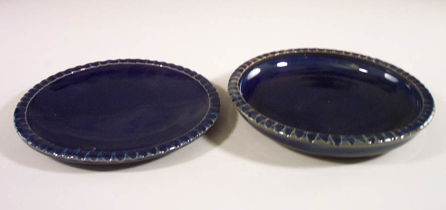 Small Dinner Plate, and Salad Plate Fluted Design in Dark Blue Glaze