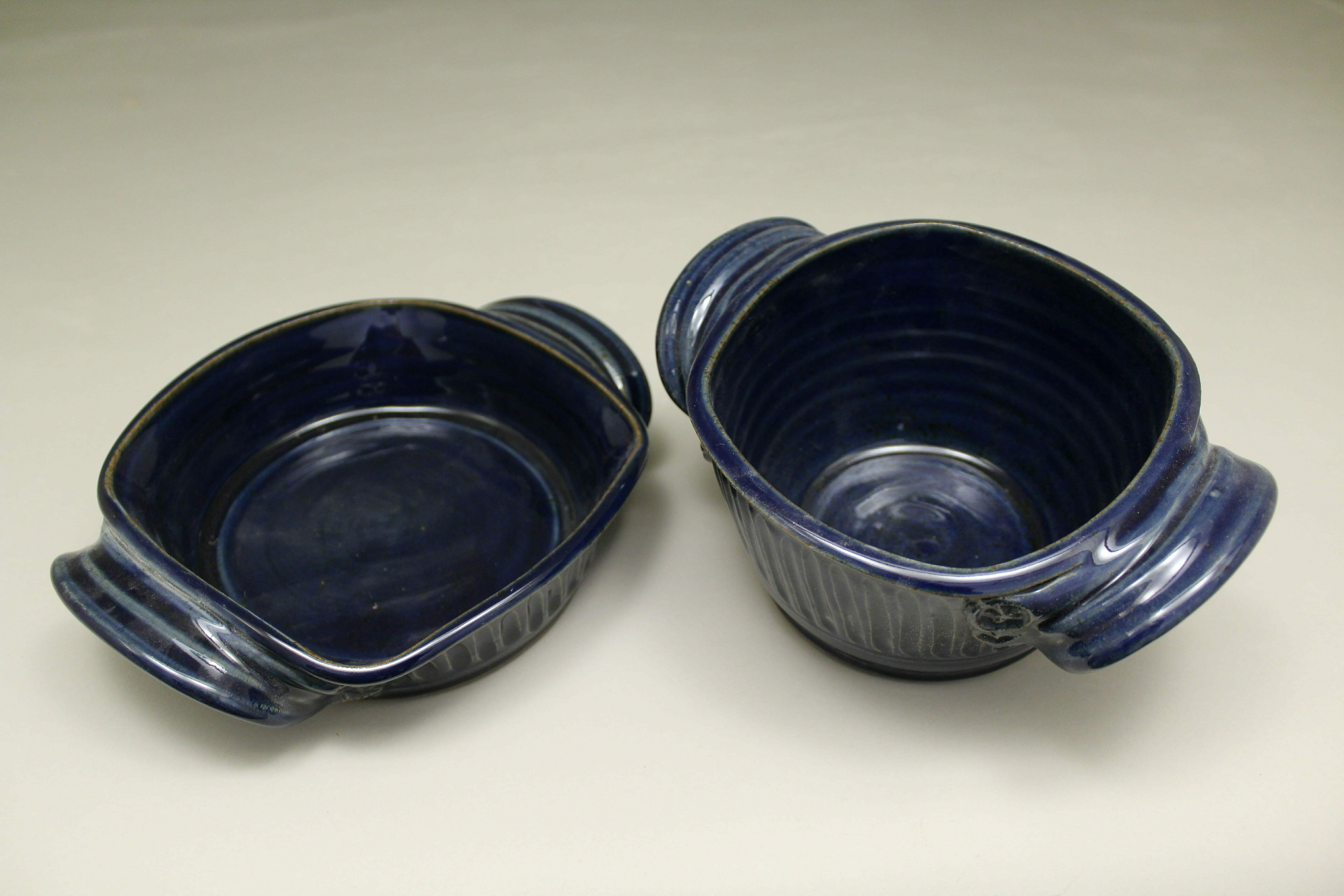 Small Open Casserole or Small Deep Open Casserole Fluted Design in Dark Blue Glaze
