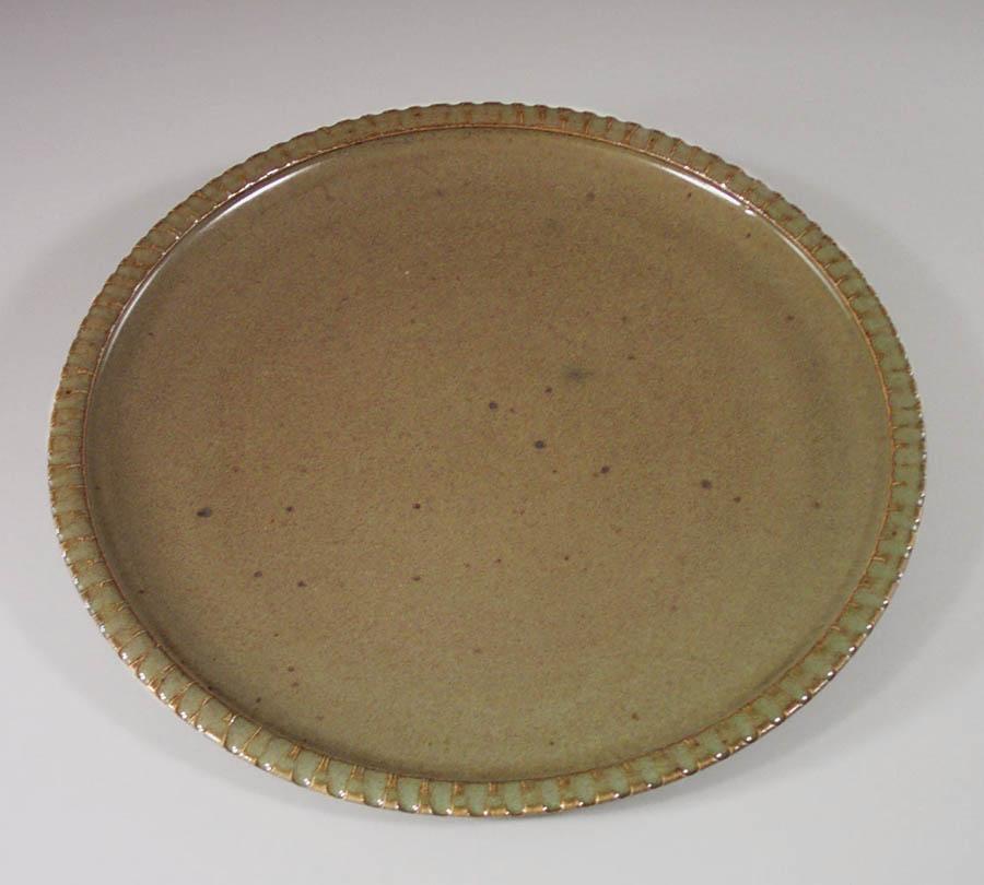 Small Platter Fluted Design in Green Glaze