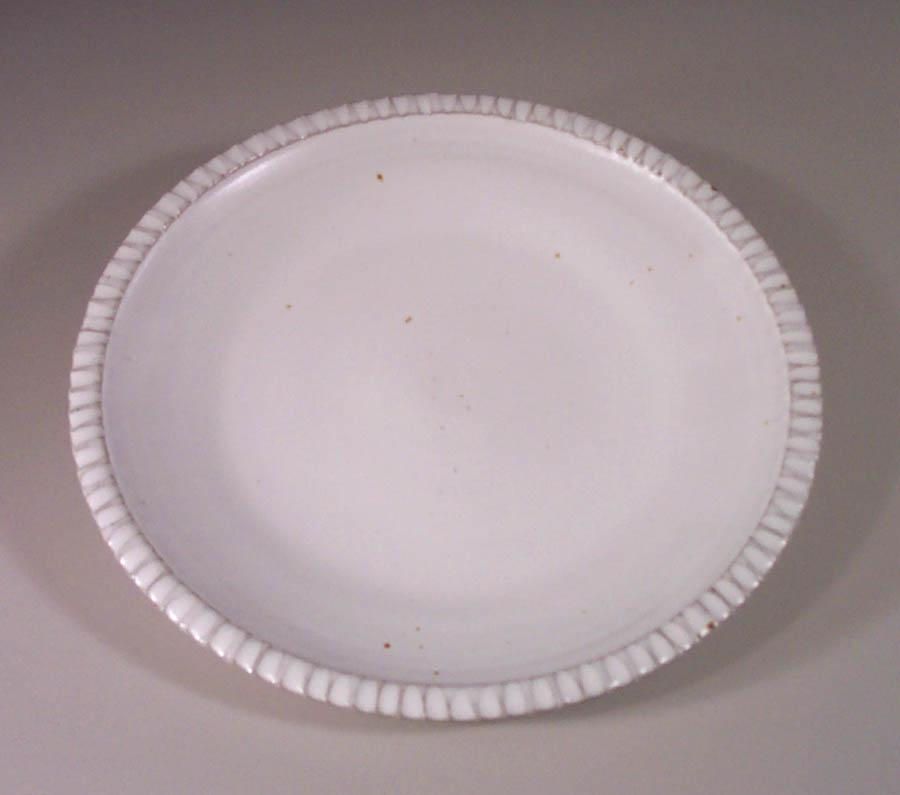 Small Platter Fluted Design in White Glaze
