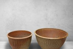 Deep Bowls, Small and Medium Sizes, Fluted Design in Spodumene Glaze