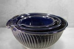Mixing Bowl 3-pc. Set Fluted Design in Dark Blue Glaze.