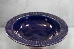 Large Pasta Bowl Fluted Design in Dark Blue Glaze
