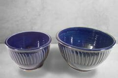 Deep Bowls, Sizes Small and Medium, Fluted Design Dark Blue Glaze.