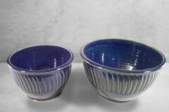 Bowls, Deep, Small and Medium Sizes, Design 2, Dark Blue Glaze