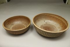 Low Bowl, Small and Regular Sizes in Fluted Design Spodumene Glaze